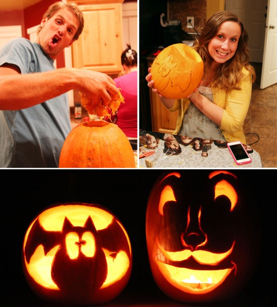 Brett and Hannah Carving Pumpkins - Halloween 2012